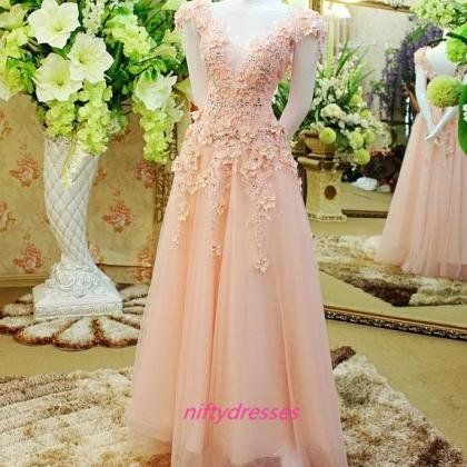 Lace Flowers Long Evening Dresses, ..