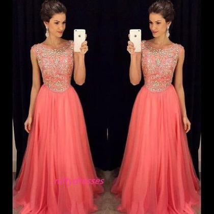 Charming Prom Dress,Long Coral Prom..
