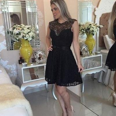 New Arrival Black Lace Prom Dress,S..