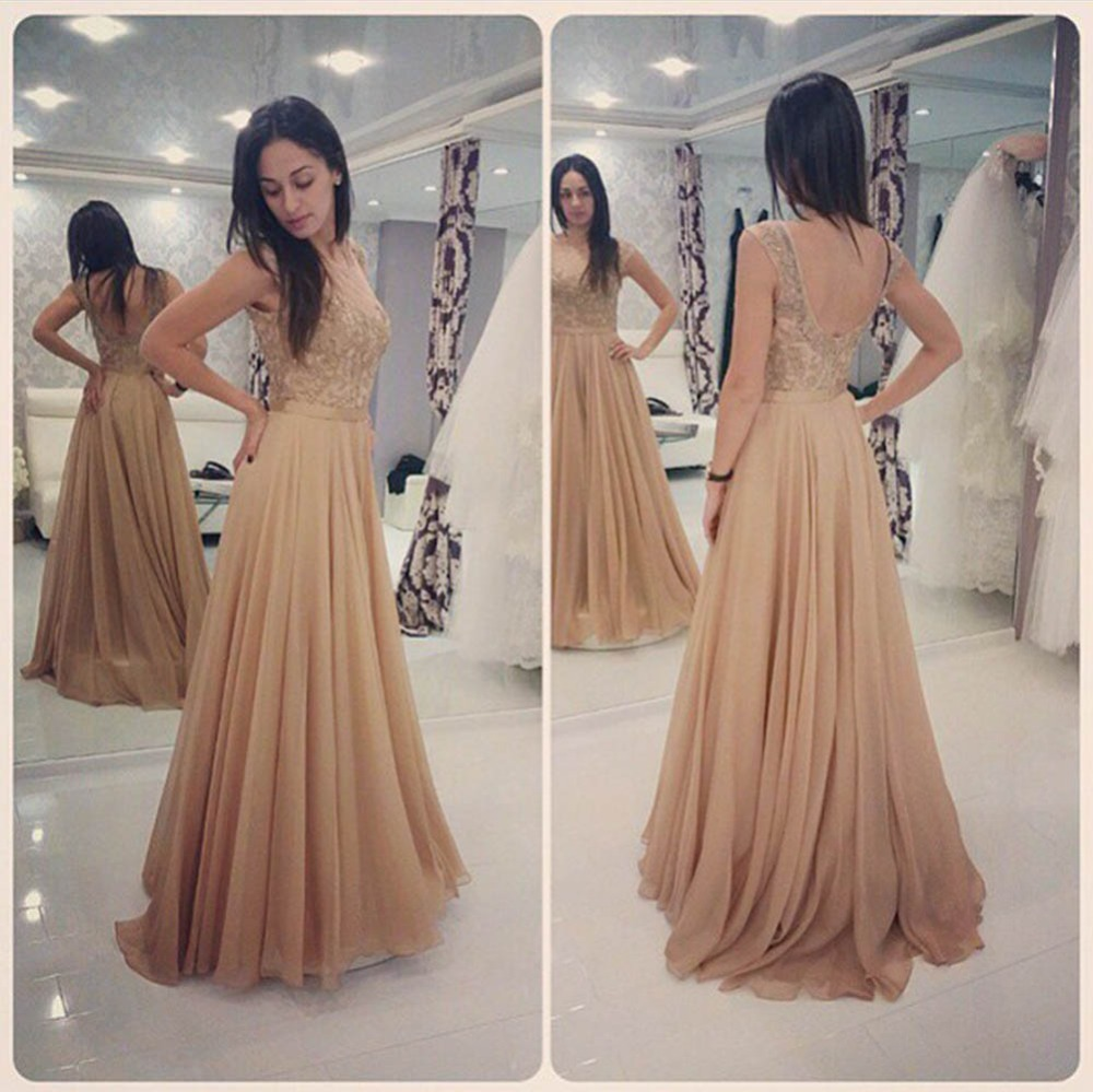 Glamorous Long Champagne Lace Prom Dresses Party Evening -7426