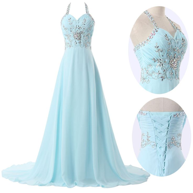 8c9762e351e Beautiful Light Blue Long Chiffon Prom Dresses 2016