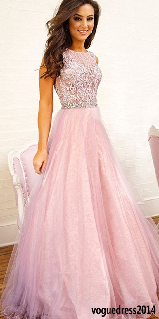 Pink Prom Dress, Long Prom Dress, Tulle Prom Dress, Cheap Prom Dress ...