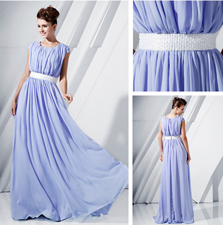 Lavender Bridesmaid Dresses Short Sleeve Ruched Prom Long Chiffon
