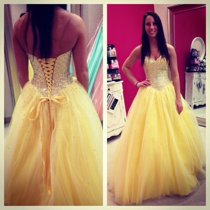 Charming Prom Dress,Yellow Prom Dresses,Tulle Prom Gown,Modest ...