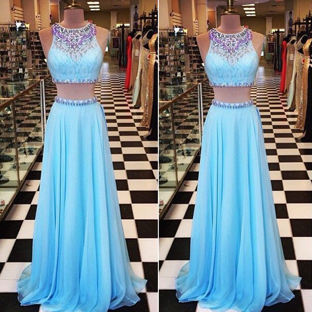 24cc4c2e412f6 Light Blue Prom Dress,Two Piece Prom Dresses, Chiffon Prom  Dress,Rhinestones Prom Dresses,Beaded Evening Dress,Party Dress,2 Piece  Prom Dresses