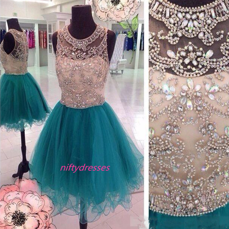 Blue A-line See Through Mini Prom Dresses,Tulle Short Homecoming Dress,Beading Crystal Homecoming Dresses