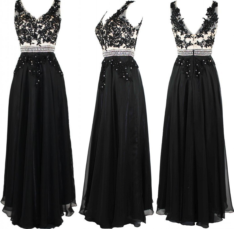 A-line Black V-neck Long Chiffon Bridesmaid Dresses with Appliques and Beads