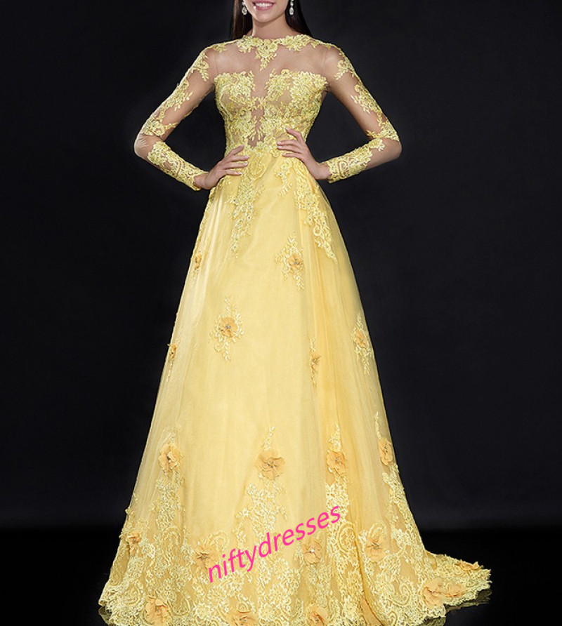 Elegant Long Sleeve Prom Dresses,Yellow Prom Dress,Tulle Evening ...