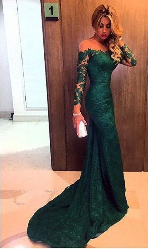 New Arrival Dark Green Evening Gowns Long Sleeves Off The Shoulder ...