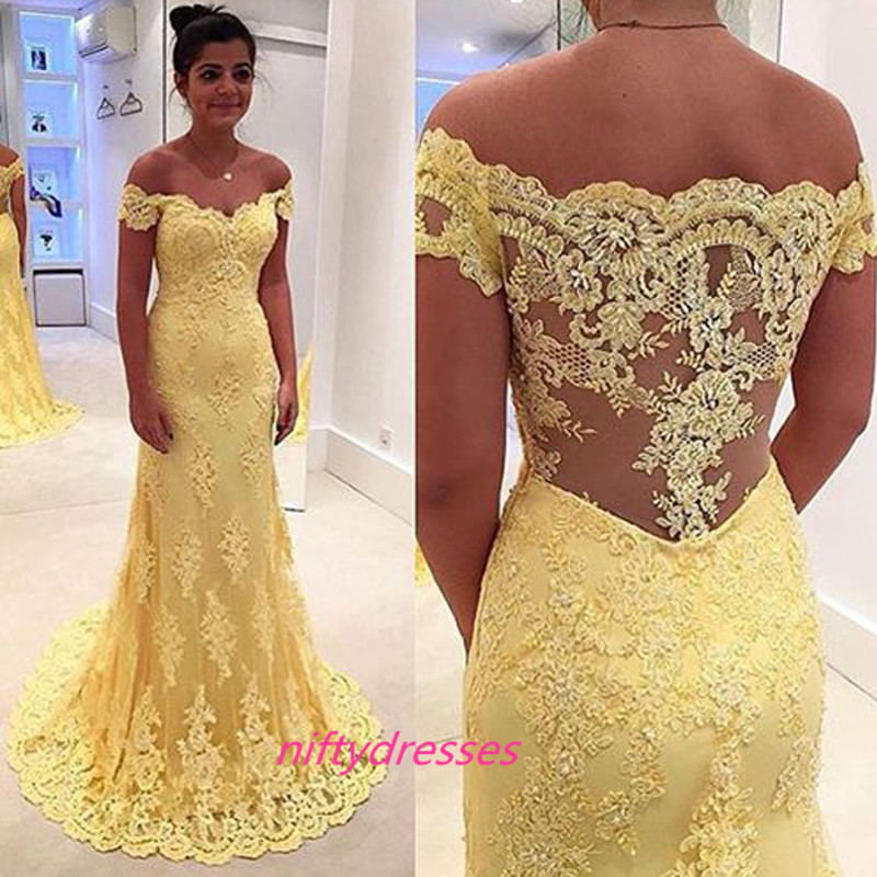 2016 Yellow Lace Prom Dresses Long Prom Dresses Off Shoulder Lace ...