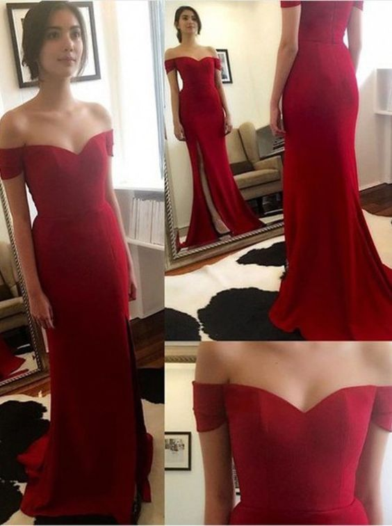 405a4b7939 Off the Shoulder Red Prom Dresses,Side Slit Prom Dress,Sexy Prom Dress,Custom  Made Prom Gown,Floor Length Evening Dress