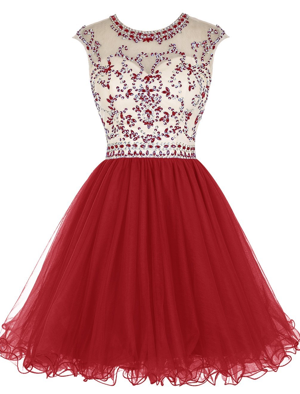f08bfe0f34e6 Red Tulle Homecoming Dress,Beading Homecoming Dresses,Short Prom Dress
