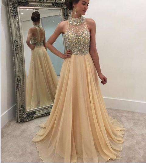 Charming Evening Dress,Beaded Prom Dress,Chiffon Prom Dress,Long Evening Gown,Formal Dress
