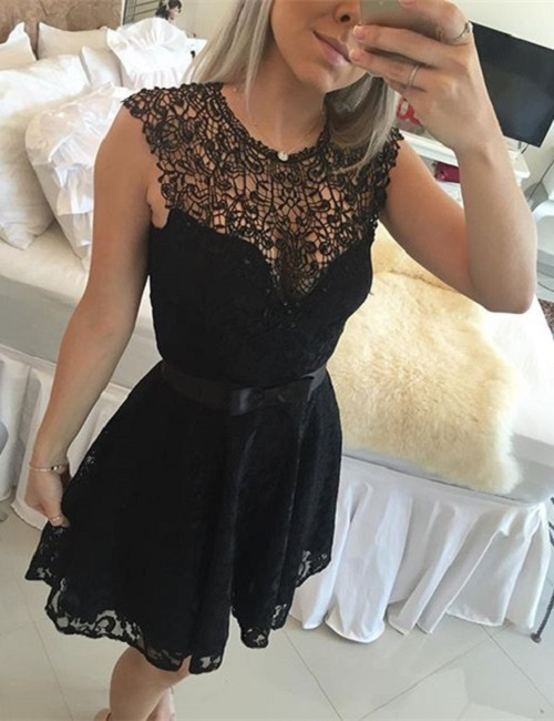New Arrival Black Lace Prom Dress,Short Prom Gown,O Neck Evening Dress