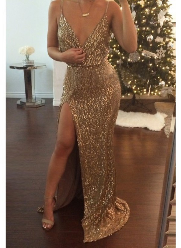 705da962 Sexy Evening Gowns Elegant Deep V Neck Spaghetti Strap Prom Party Dresses  Split Side Long Formal