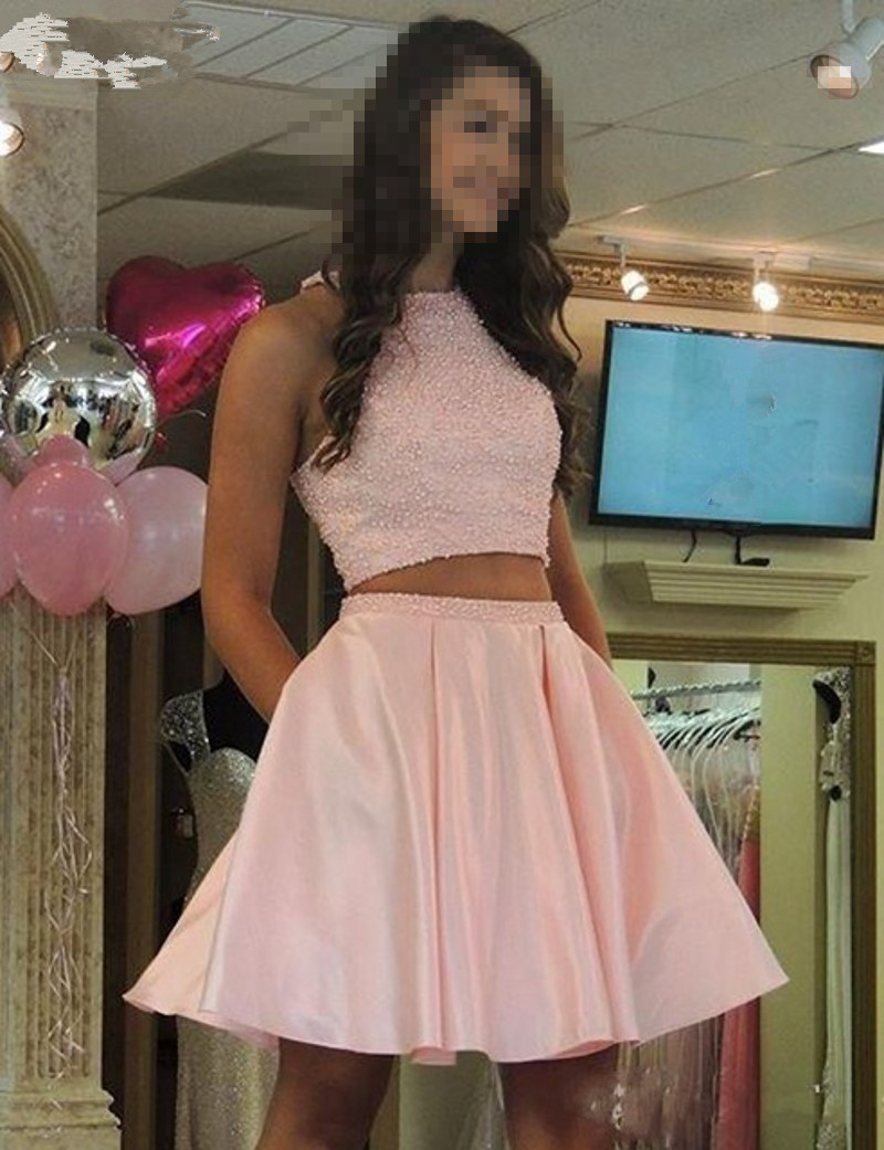 Sexy Short Prom Dress , Pink Two Pieces Homecoming Party Dress ...