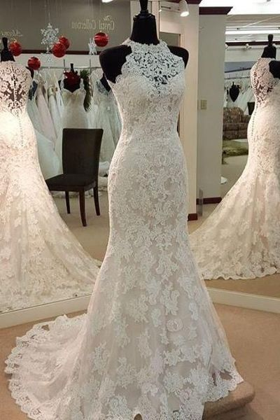 Halter Lace Mermaid Wedding Dress With Sweep Train