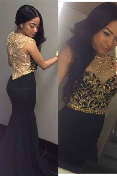 Dark Gray with Gold Beading Prom Dresses