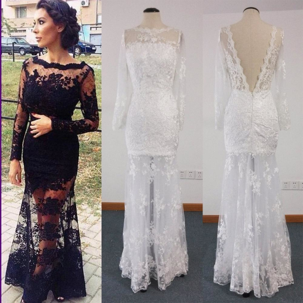 Long Evening Dressmermaid Evening Dressesblack Lace Formal Dress