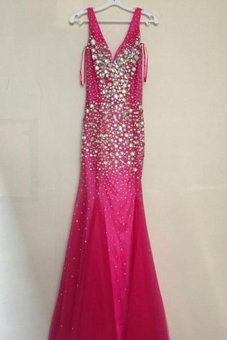 2016 Long Evening Dresses,Shining Evening Dresses,Sparkly Prom Dress,Crystal Prom Dress,Red Prom Dress