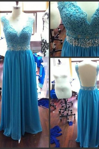 Evening Dresses Sheer Neck Back See Through Turquoise Blue Long Prom Dress