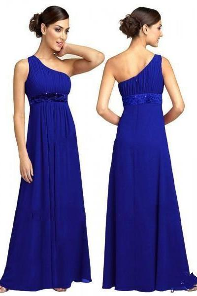 One Shoulder Prom Dress, Royal Blue Prom Dress,Chiffon Prom Dress,Long Prom Dress