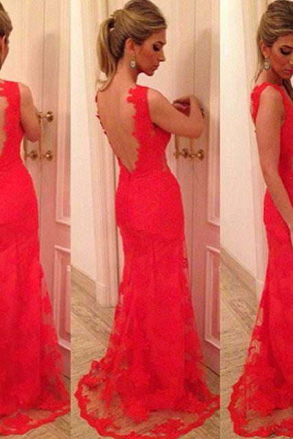 Sexy Evening Dress,Lace Evening Dress,Red Evening Dress,Backless Evening Dress,Prom Dress