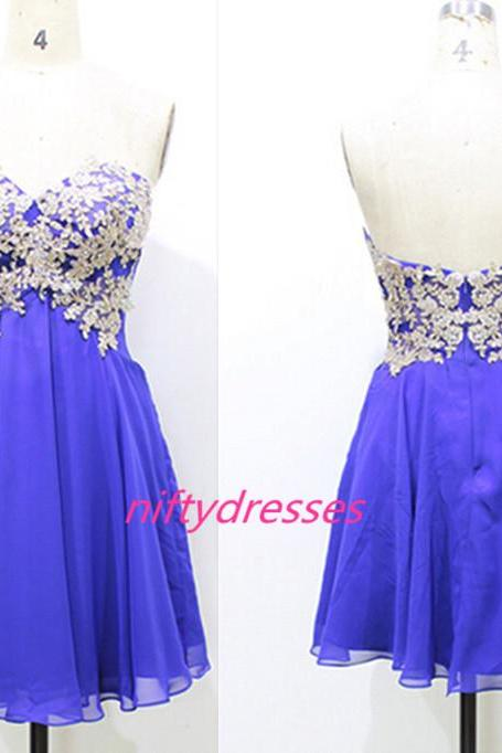 New Arrival Short Homecoming Dress,Appliques Homecoming Dress,Backless Homecoming Dress, Sweetheart Homecoming Dress