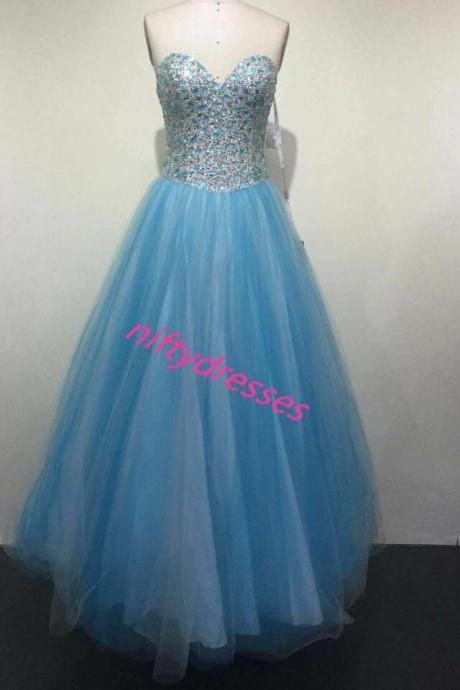 New Arrival Charming Blue Homecoming Dress,Tulle Homecoming Dress,Beading Crystal Homecoming Dress,Sweetheart Homecoming Dress