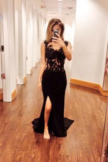 New Arrival Custom Made Fashion Prom Dress,Side Split Prom Dress,Black Prom Party Dress,Long Prom Dress with Train