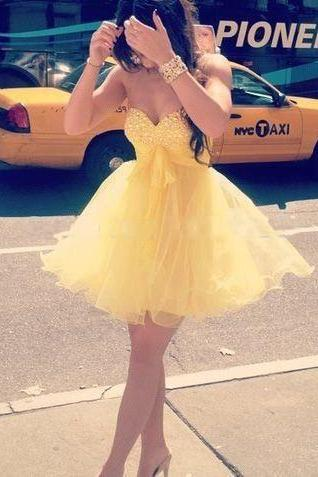 New Arrival Cute Prom Dress,Yellow Prom Dress,Tulle Short Party Dress,Girl Dress,Mini Beading Crystal Prom Dresses,Evening Gown