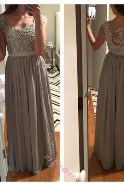 New Arrival Gray Long Chiffon Prom Dress,Cap Sleeve Beading Evening Dresses,Sleeveless See Though Prom Gown Party Dress