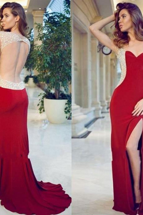New Arrival Sexy Red Sweetheart Cap Sleeve Backless Beading Crystal Sweep Train Slide Slit Evening Dress Prom Gown Prom Dresses
