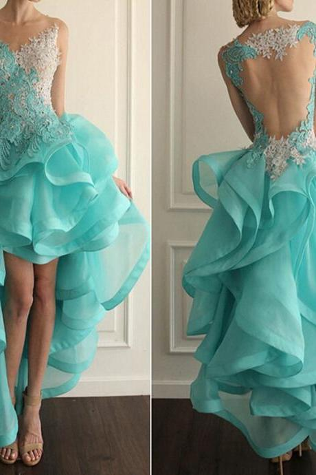 High Low Ruffle Prom Dresses,Organza Hi Lo Dress ,Long Homecoming Dresses 2016 Custom Fit Prom Dresses