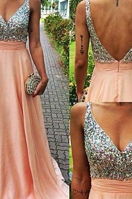 New Fashion Women Dress Beading Sexy V-neck Prom Dresses ,Elegant Long Homecoming Party Formal Evening Gown Crystal Prom Dress
