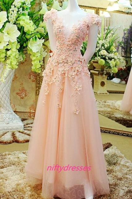 Lace Flowers Long Evening Dresses, 2016 Custom Made Evening Gowns,Prom Dresses.Prom Dress,Homecoming Dresses