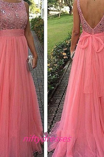 Pink Prom Evening Dress Backless Chiffon Tulle OffShoulder A-Line Formal Long Prom Dresses,Homecoming Dress