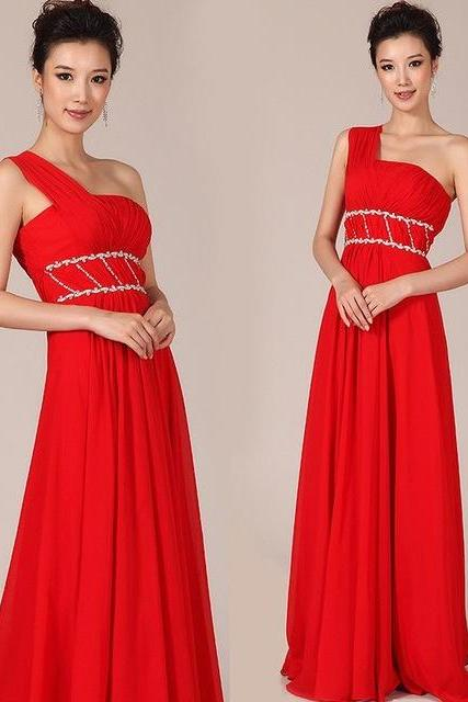 New Floor-length Red Chiffon Beaded Long Formal Evening Dress Corset One Shoulder Prom Dresses