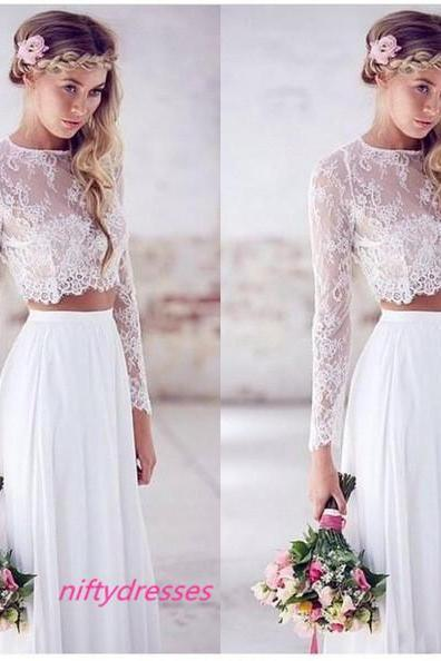 Hot Sale Two-pieces Crop Top White Wedding Dresses, Chiffon Wedding Gowns , Lace Long Sleeve Wedding Dresses