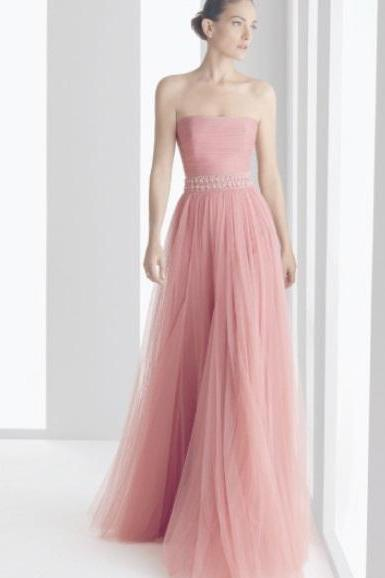 New Arrival Strapless A Line Tulle Pink Formal Dresses Long Prom Party Dresses ,Homecoming Dress,Graduation Dresses