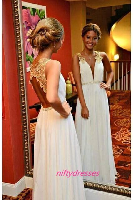 White Chiffon Evening Dresses,Deep V Neck Prom Dresses,Open Back Party Dress,Chiffon Bridesmaid Dress,Appliques Bridesmaid Dresses