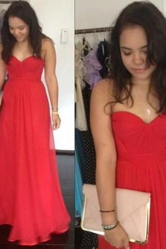 New Arrival Simple A-Line Strapless Red Yellow Prom Dresses Floor Length Sleeveless Prom Dresses