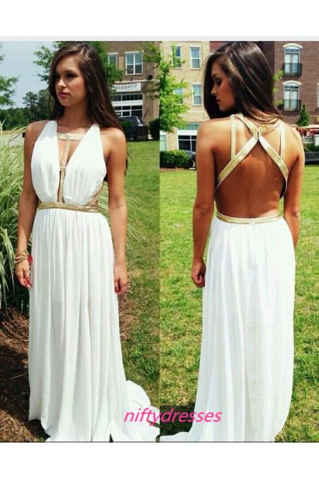 White Backless Chiffon Prom Dress,Backless Prom Dresses
