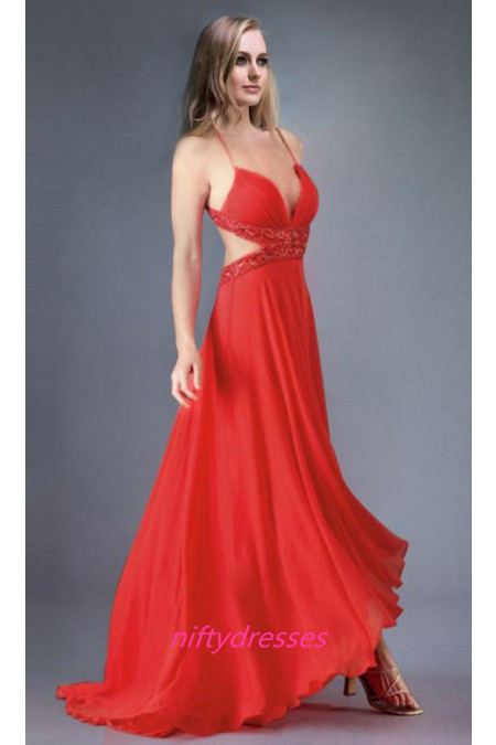 V-Neck Prom Dress,A-Line Prom Dresses,Red Prom Dress,Chiffon Beaded Evening Dresses,Pretty Evening Gown