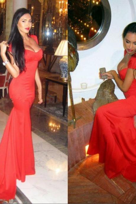 Sweetheart Cap Sleeve Open Back Red Fitted Mermaid Slim Backless Sexy Prom Dress,Special Occasion Dresses,Sexy Evening Dresses