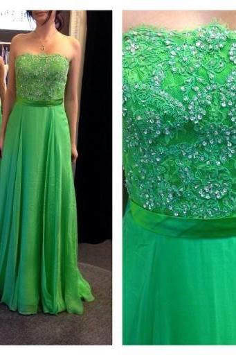 Elegant Fashion Prom Dress,A-line Prom Dresses, Strapless Beaded Prom GownWith Sash,Custom Made Formal Prom Party Dress,Homecoming Dress,Graduation Dress