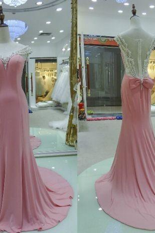 Pink Chiffon Cap Sleeves Prom Dresses Long Sheer Scoop Crystals Pearls Court Train Evening Gowns Evening Dress