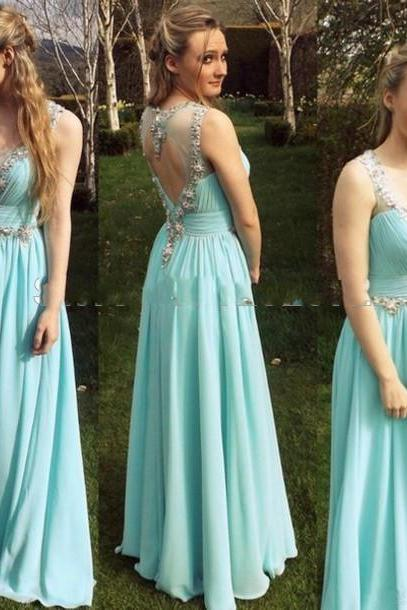 Light Blue Prom Dress, 2016 Beaded Ruched Prom Dresses,A Line Party Evening Dresses,Evening Party Dress,Pretty Prom Dresses