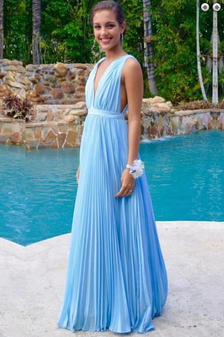 Light Blue Prom Dresses,Chiffon Evening Dress,Simple Prom Gowns,V neckline Prom Gown,Pretty Evening Dress,Backless Prom Dress,Chiffon Bridesmaid Dresses