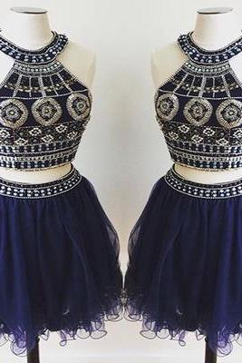 Two Pieces Prom Dresses,Tulle Prom Dress,Mini Short Homecoming Dresses,Blue Homecoming Dresses,Pretty Party Dress,Party Gown